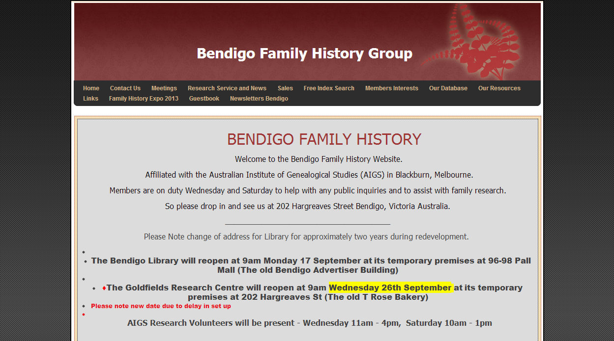 Bendigo Family History Group